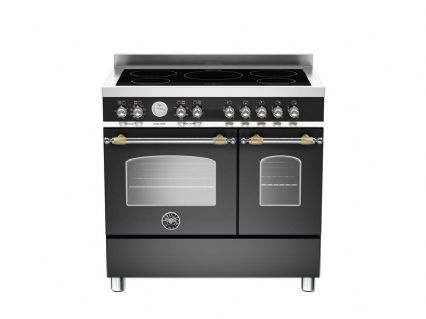 90cm Bertazzoni Heritage 5 zone induction and 2 electric ovens in Matt Black HER90-5I-MFE-D-NET